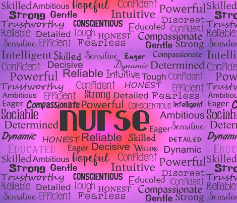 Nurse Adjectives Purple fabric by hot4tees_bg@yahoo_com on Spoonflower - custom fabric