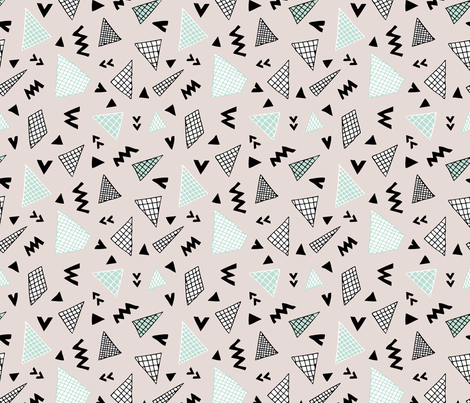 Cool abstract memphis style geometric triangle and arrow shapes gender neutral beige mint fabric by littlesmilemakers on Spoonflower - custom fabric