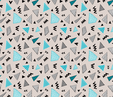 Cool abstract memphis style geometric triangle and arrow shapes gender neutral beige blue fabric by littlesmilemakers on Spoonflower - custom fabric