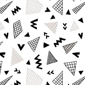 Cool abstract memphis style geometric triangle and arrow shapes gender neutral beige black and white