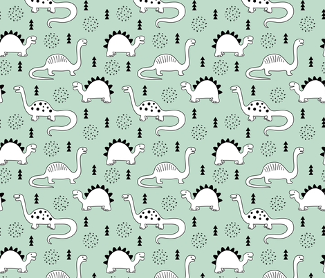 Adorable quirky dino illustration geometric dinosaur animals for kids black and white gender neutral mint fabric by littlesmilemakers on Spoonflower - custom fabric