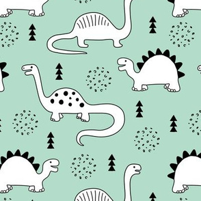 Adorable quirky dino illustration geometric dinosaur animals for kids black and white gender neutral mint