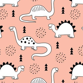Adorable quirky dino illustration geometric dinosaur animals for kids black and white coral