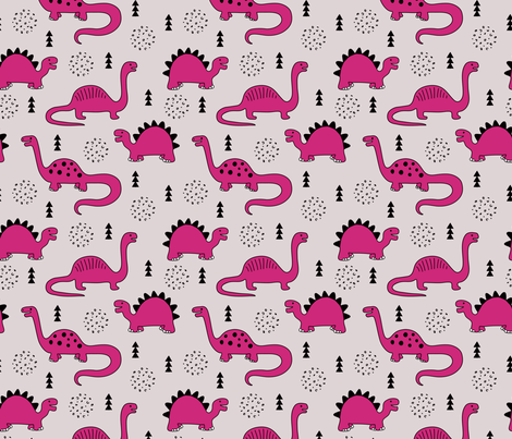 Adorable quirky dino illustration geometric dinosaur animals for kids black and white girls hot pink fabric by littlesmilemakers on Spoonflower - custom fabric