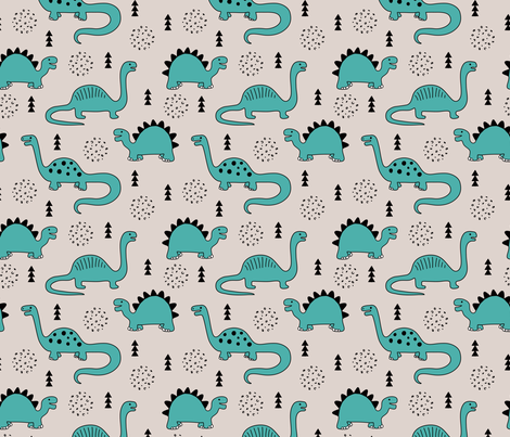 Adorable quirky dino illustration geometric dinosaur animals for kids black and white gender neutral blue fabric by littlesmilemakers on Spoonflower - custom fabric