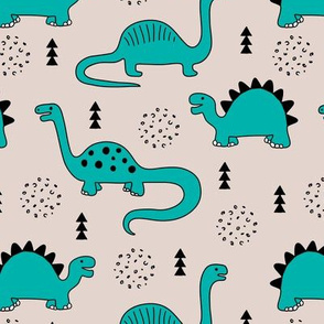 Adorable quirky dino illustration geometric dinosaur animals for kids black and white gender neutral blue