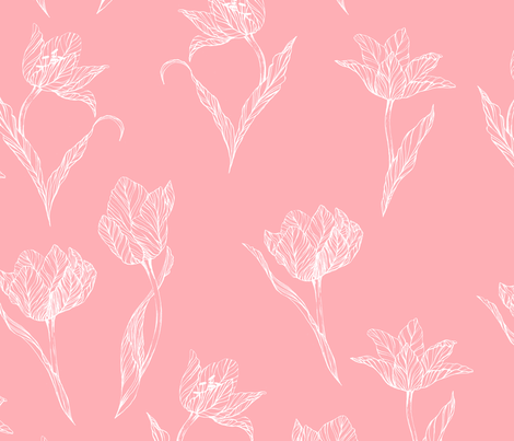 white_tulips_on_pink fabric by youdesignme on Spoonflower - custom fabric