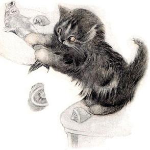vintage retro kitsch whimsical black cats kittens monochrome white fishes food lemons eating