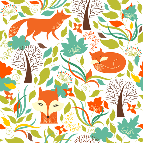 Fox In The Woods / White fabric by shopcabin on Spoonflower - custom fabric