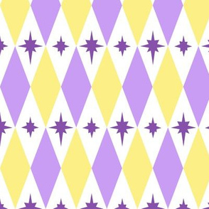 Harlequin Yellow Purple Diamond Starburst