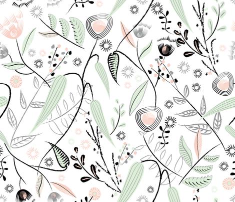 Brushstroke Flowers White fabric by vinpauld on Spoonflower - custom fabric