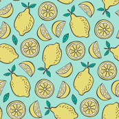 Lemon Citrus on Mint Green