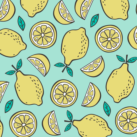 Lemon Citrus on Mint Green fabric by caja_design on Spoonflower - custom fabric