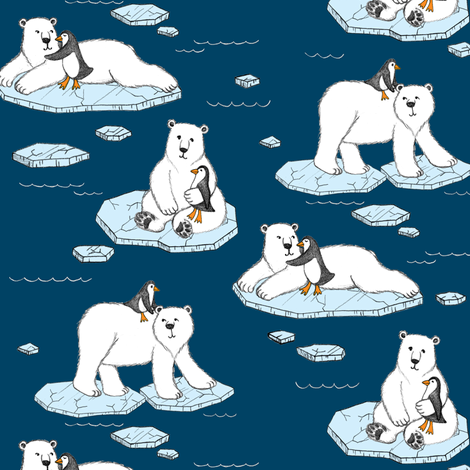 Polar Bear Loves Penguin - navy blue fabric by micklyn on Spoonflower - custom fabric