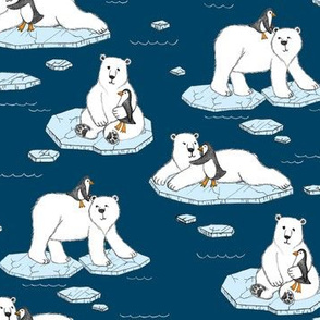 Polar Bear Loves Penguin - navy blue