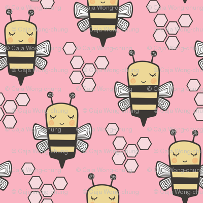 Bees Honeycomb on Pink