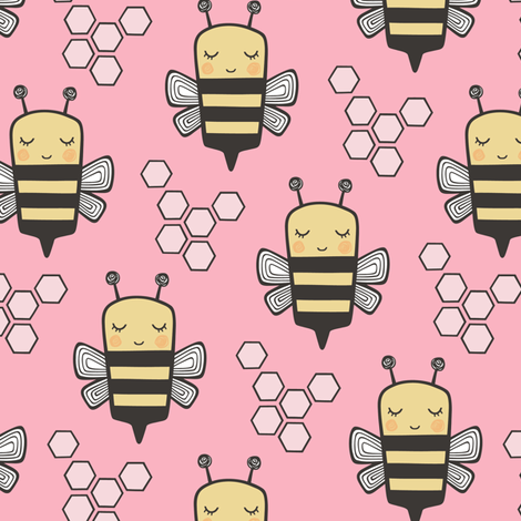 Bees Honeycomb on Pink fabric by caja_design on Spoonflower - custom fabric