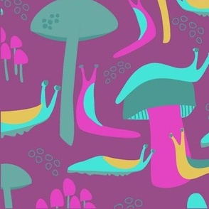 Slugs and mushrooms on fushia