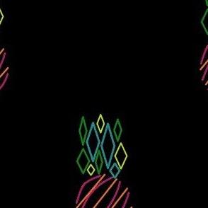 Modern Pineapple, Black Background