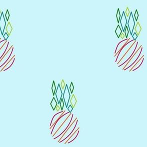 Modern Pineapple, aqua background