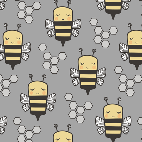 Bees Honeycomb Black&White on Grey fabric by caja_design on Spoonflower - custom fabric