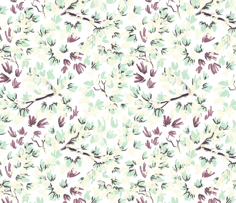Flowers and Branches-White fabric by yelena_huntington on Spoonflower - custom fabric