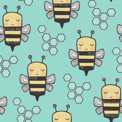 Bees Honeycomb on Mint Green