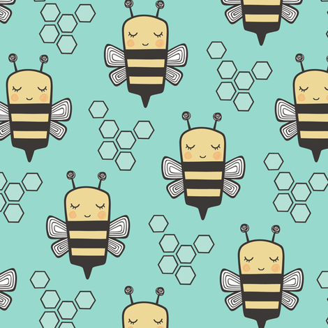 Bees Honeycomb on Mint Green fabric by caja_design on Spoonflower - custom fabric