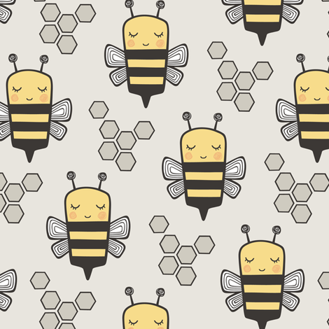Bees Honeycomb on Light Grey fabric by caja_design on Spoonflower - custom fabric