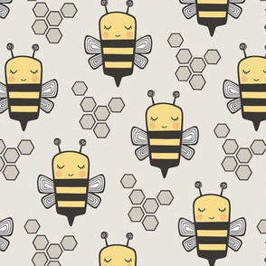 Bees Honeycomb on Light Grey