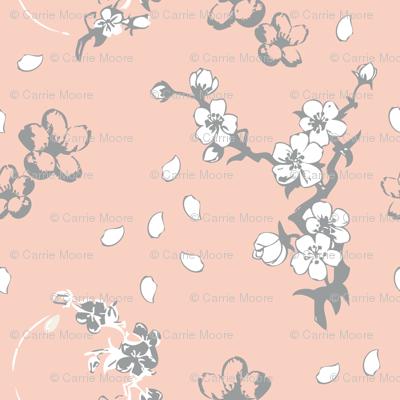 Grey, Peach, & White, Cherry Blossom