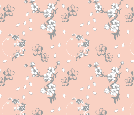 Grey, Peach, & White, Cherry Blossom fabric by carrie-moore on Spoonflower - custom fabric