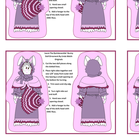 Laura The Quintessential Lady Bunny Cut and Sew Doll Ornament fabric by lworiginals on Spoonflower - custom fabric