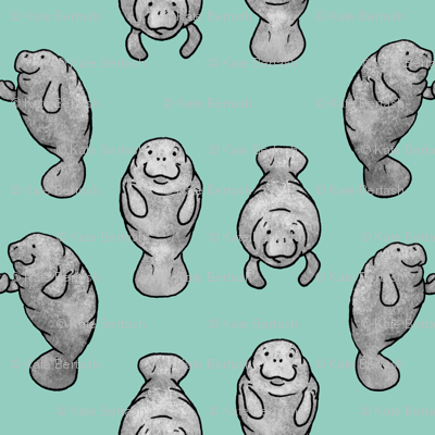 Manatees Holding Hands - Mint