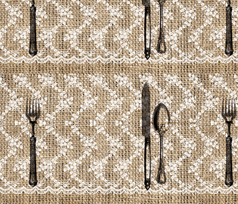 Burlap & Lace Cutlery Placemat fabric by baub on Spoonflower - custom fabric