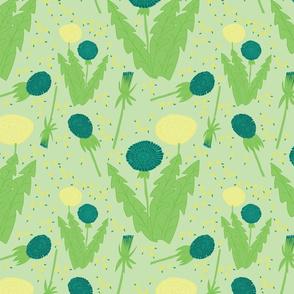 dandelions in a green field