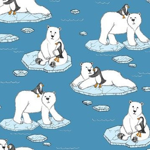 Polar Bear Loves Penguin - blue