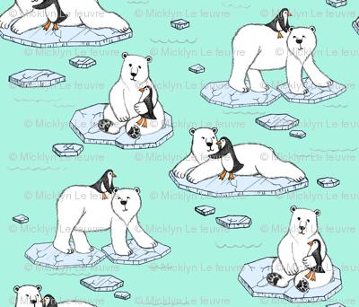 Polar Bear Loves Penguin - mint