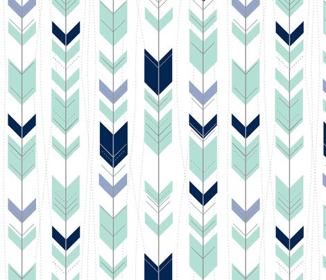 tribal arrows // mint indigo denim fabric by buckwoodsdesignco on Spoonflower - custom fabric