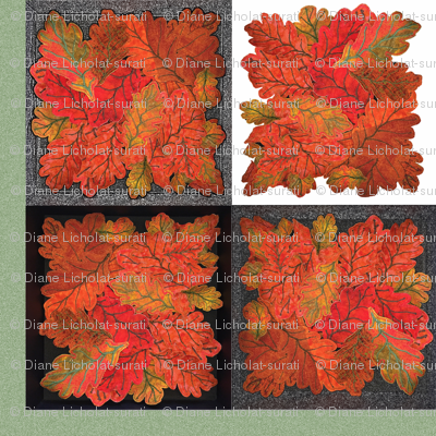 Quilted Autumn Oak Leaves 4-patch cheater cloth - Teal