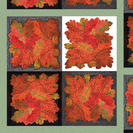 Quilted Autumn Oak Leaves 4-patch cheater cloth - Teal fabric by zsmama on Spoonflower - custom fabric