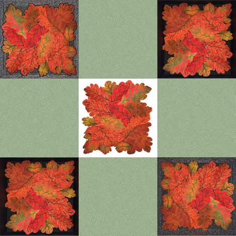 Handmade Autumn Oak Leaves 9-patch cheater cloth fabric by zsmama on Spoonflower - custom fabric
