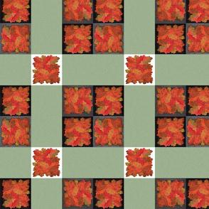 Handmade Autumn Oak Leaves 9-patch cheater cloth
