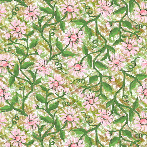Daisy Vine with Leaves 1 fabric by eclectic_house on Spoonflower - custom fabric