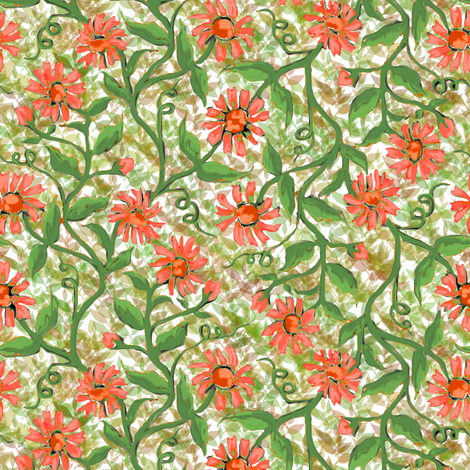 Daisy Vine with Leaves 2 fabric by eclectic_house on Spoonflower - custom fabric