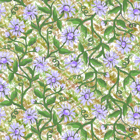 Daisy Vine with leaves 3 fabric by eclectic_house on Spoonflower - custom fabric