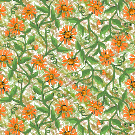 Daisy Vine with Leaves 4 fabric by eclectic_house on Spoonflower - custom fabric