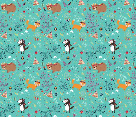 Tribal Adventure - Mint fabric by ewa_brzozowska on Spoonflower - custom fabric