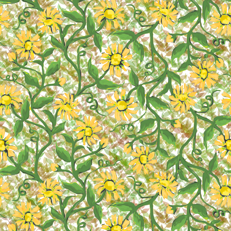 Daisy Vine with Leaves 6 fabric by eclectic_house on Spoonflower - custom fabric