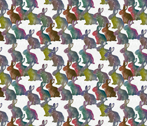 Rabbits fabric by linsart on Spoonflower - custom fabric